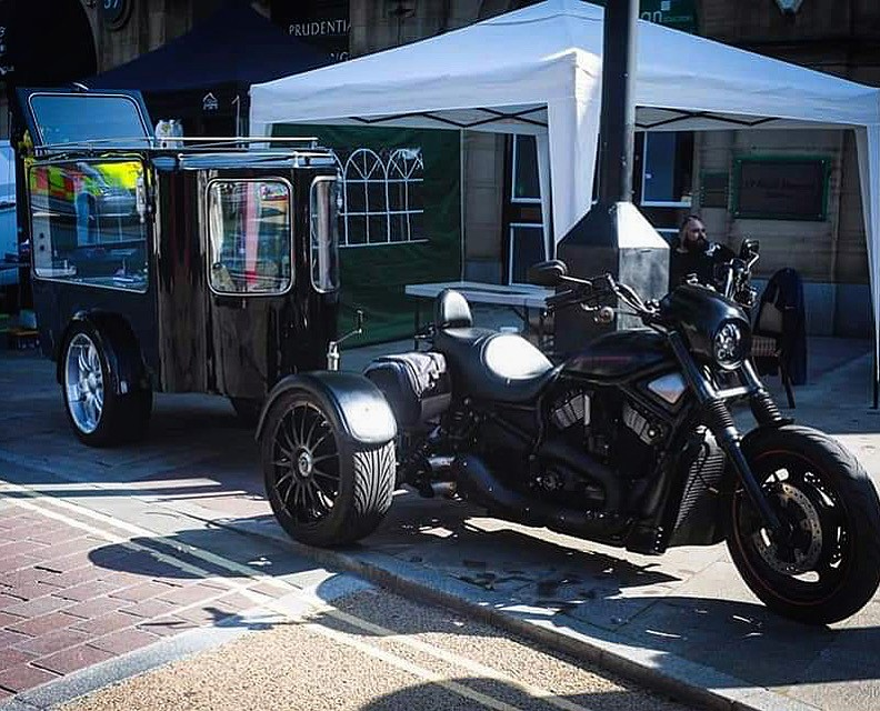 Our Motorcycle Hearse At Roughley's Bike Show